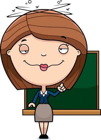 education cartoon: A cartoon illustration of a teacher looking drunk.