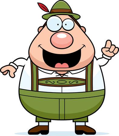 lederhosen: A cartoon illustration of a German man in lederhosen with an idea. Illustration