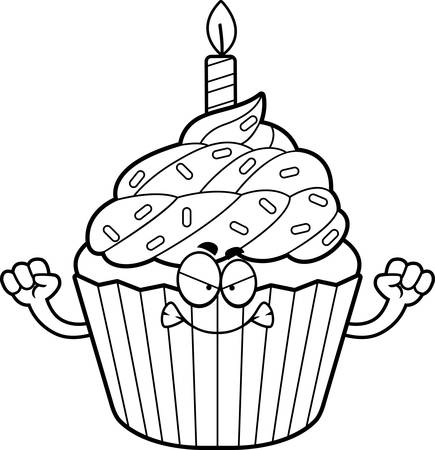 cupcake illustration: A cartoon illustration of a birthday cupcake looking angry.