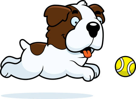 st bernard: A cartoon illustration of a Saint Bernard chasing a ball.