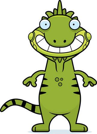 Een cartoon illustratie van een leguaan op zoek gelukkig. Stock Illustratie