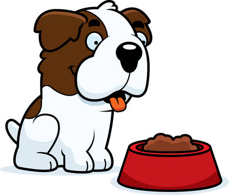 st bernard: A cartoon illustration of a Saint Bernard with a bowl of food. Illustration