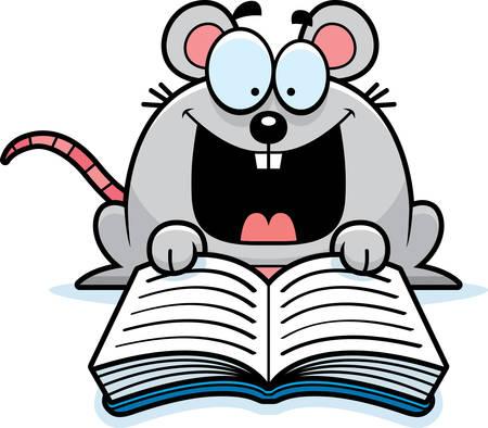 rata caricatura: Un ejemplo de la historieta de un rat�n que lee un libro. Vectores