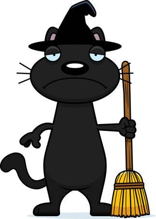 A cartoon illustration of a black cat witch looking sad. Illustration