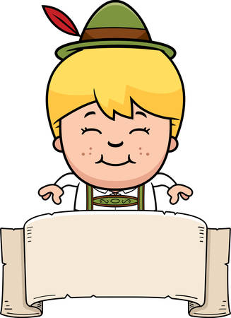 lederhosen: A cartoon illustration of a German boy in lederhosen with a banner.
