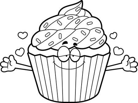 A cartoon illustration of a cupcake ready to give a hug.