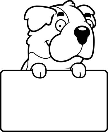 st bernard: A cartoon illustration of a Saint Bernard with a sign. Illustration