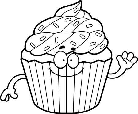 cupcake illustration: A cartoon illustration of a cupcake waving.