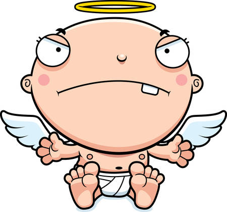 cranky: A cartoon illustration of a baby angel looking mad.