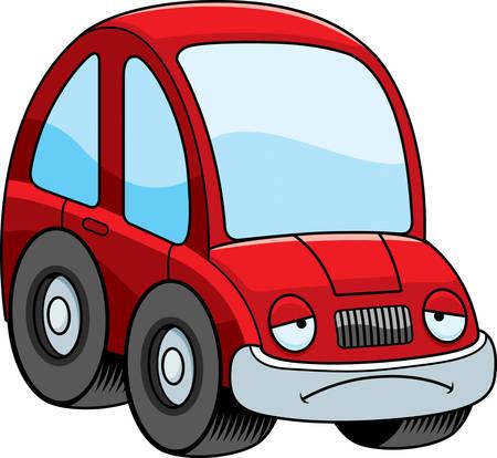 car tire: A cartoon illustration of a car looking sad. Illustration