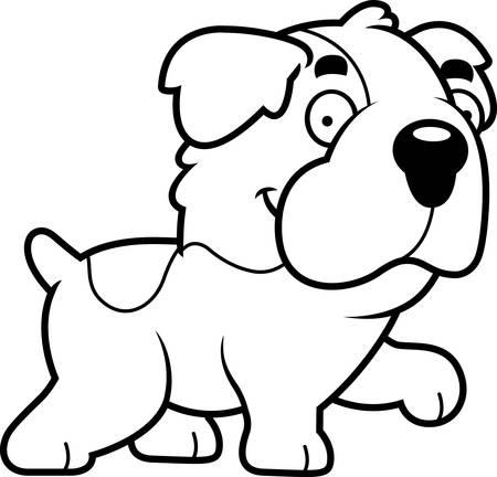 st bernard dog: A cartoon illustration of a Saint Bernard walking.