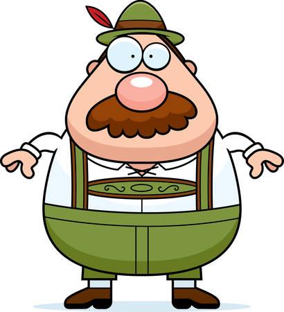 lederhosen: A cartoon illustration of a German man in lederhosen with a mustache. Illustration