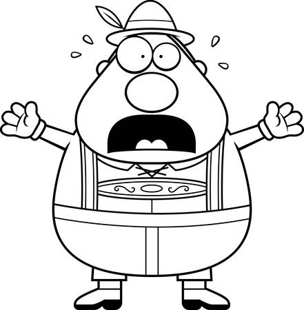 lederhosen: A cartoon illustration of a German man in lederhosen panicking.