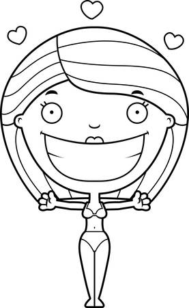 A cartoon illustration of a woman in a bikini ready to give a hug.
