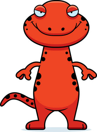 A cartoon illustration of a salamander with a sly expression.