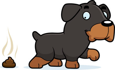 feces: A cartoon illustration of a Rottweiler pooping.