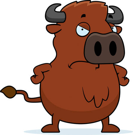 angry bull: A cartoon illustration of a buffalo with an angry expression.