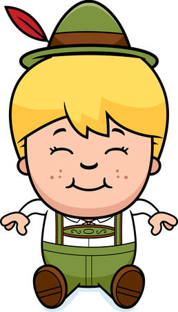 lederhosen: A cartoon illustration of a German boy in lederhosen sitting.