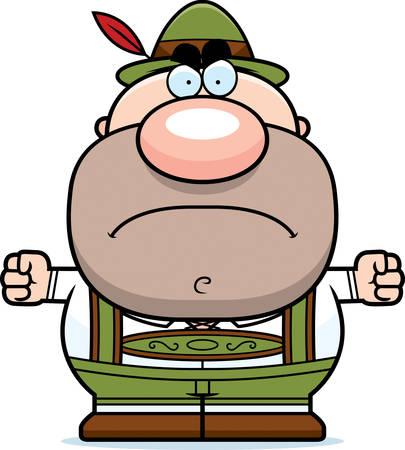 lederhosen: A cartoon illustration of a German man in lederhosen looking mad. Illustration