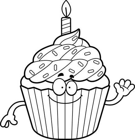 patty cake: A cartoon illustration of a birthday cupcake waving.
