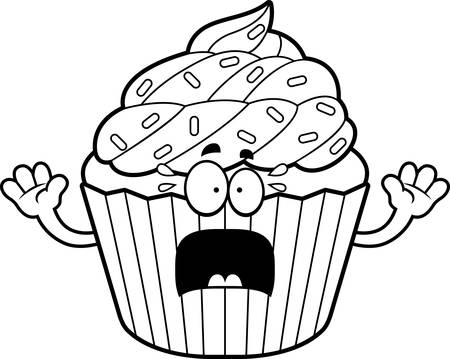 patty cake: A cartoon illustration of a cupcake looking scared.