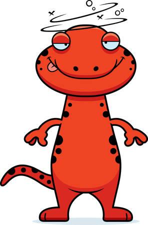 salamandre: Une illustration de bande dessin�e d'une salamandre recherche ivre.