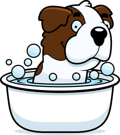st bernard: A cartoon illustration of a Saint Bernard taking a bath.
