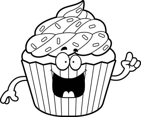 A cartoon illustration of a cupcake with an idea.