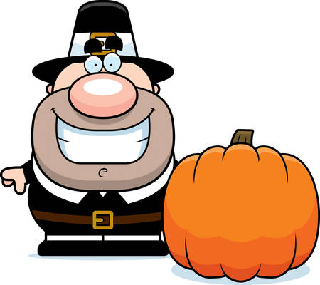 pilgrim: A cartoon illustration of a pilgrim with a pumpkin. Illustration