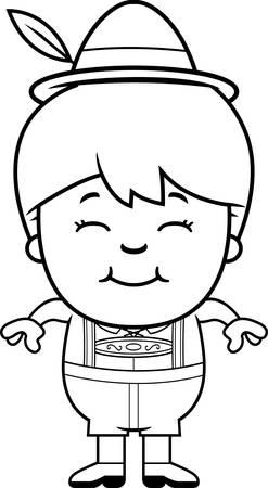 lederhosen: A cartoon illustration of a German boy in lederhosen smiling. Illustration