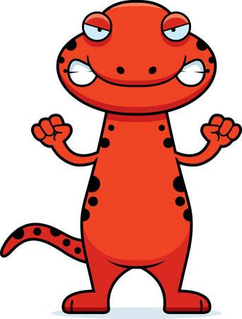 Eine Karikaturillustration eines Salamanders suchen wütend. Standard-Bild - 44490506