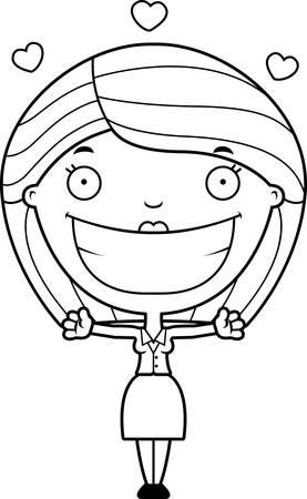 女性実業家: 抱擁を与える準備ができてビジネス女性の漫画イラスト。  イラスト・ベクター素材