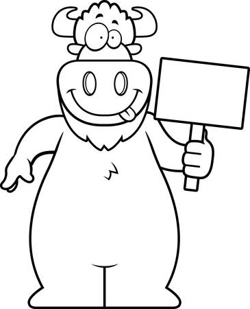 A cartoon illustration of a buffalo holding a sign.