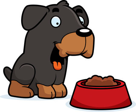 A cartoon illustration of a Rottweiler with a bowl of food.