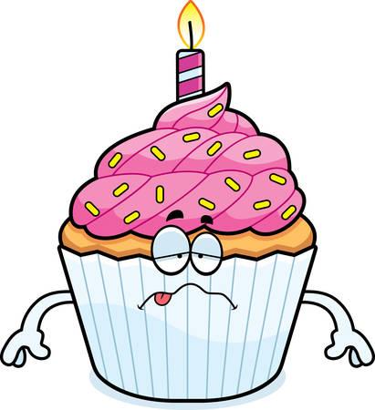 A cartoon illustration of a birthday cupcake looking sick.