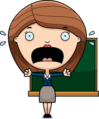 fright: A cartoon illustration of a teacher looking scared. Illustration