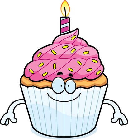 patty cake: A cartoon illustration of a birthday cupcake looking happy.