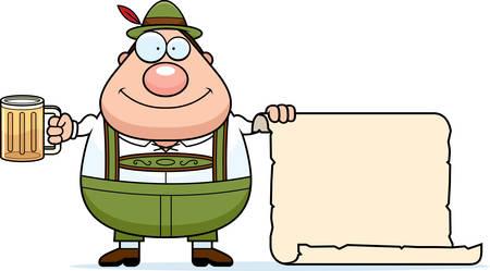 lederhosen: A cartoon illustration of a German man in lederhosen with a sign. Illustration