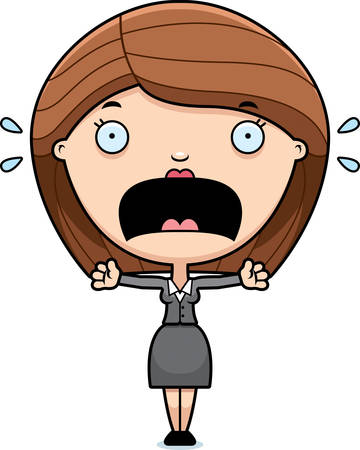 business woman: A cartoon illustration of a business woman looking scared.