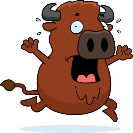 fleeing: A cartoon illustration of a buffalo running in a panic.