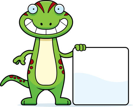 A cartoon illustration of a gecko with a sign.