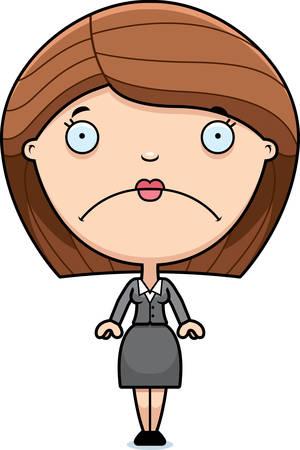 女性実業家: 悲しい探しているビジネス女性の漫画イラスト。  イラスト・ベクター素材
