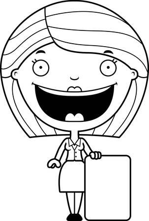 女性実業家: 記号でビジネスの女性の漫画イラスト。  イラスト・ベクター素材