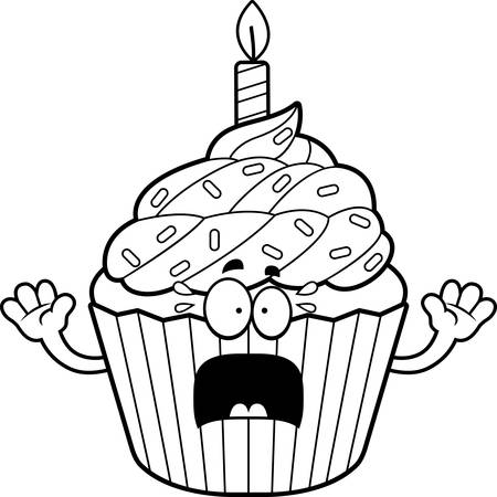 patty: A cartoon illustration of a birthday cupcake looking scared. Illustration