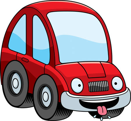 salivating: A cartoon illustration of a car looking hungry.