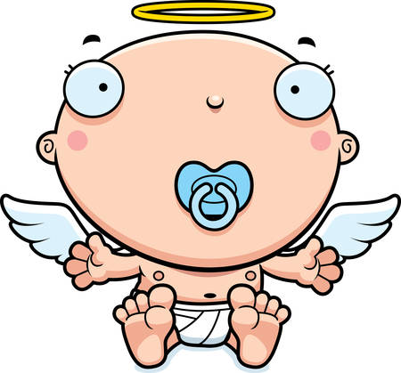 A cartoon illustration of a baby angel with a pacifier.