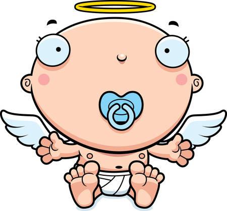 baby angel: Un fumetto illustrazione di un angelo bambino con un ciuccio.