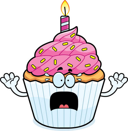 patty cake: A cartoon illustration of a birthday cupcake looking scared. Illustration