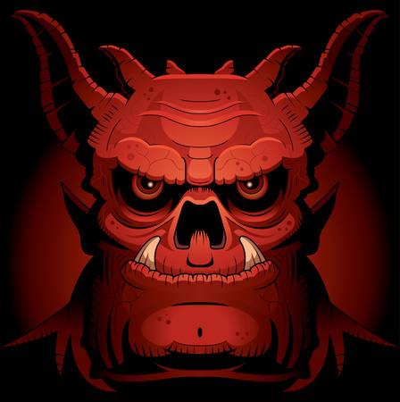 fearsome: A cartoon illustration of an evil looking demon. Illustration