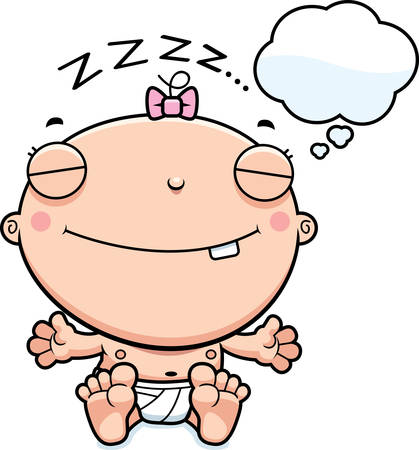 dreaming girl: A cartoon illustration of a baby girl dreaming.